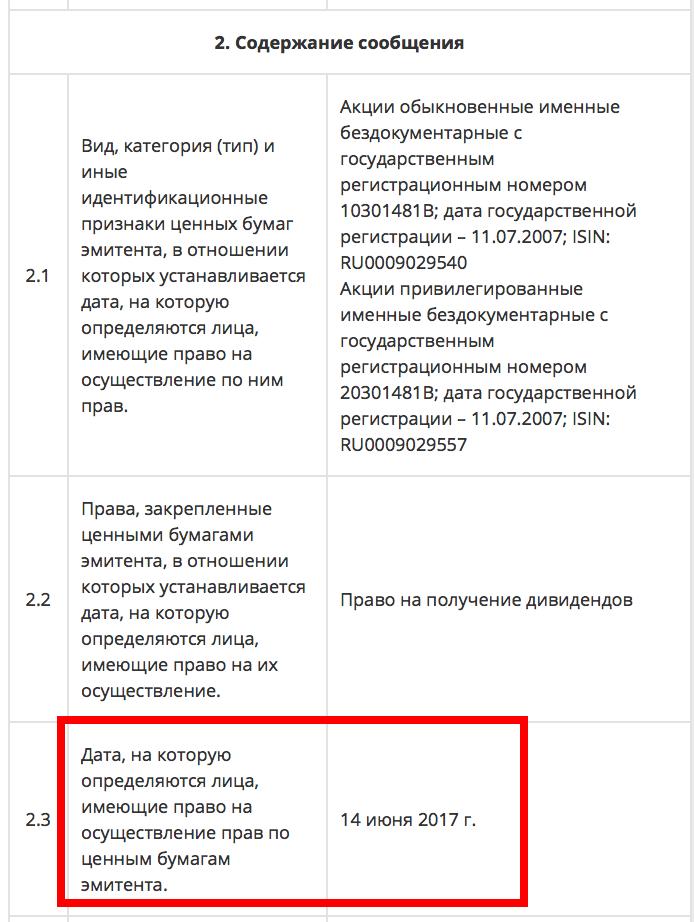 Сбербанк дивиденды дата составления реестра